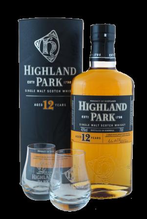 Highland Park 12 Jahre – Geschenkverpackung mit 2 Nosinggläsern