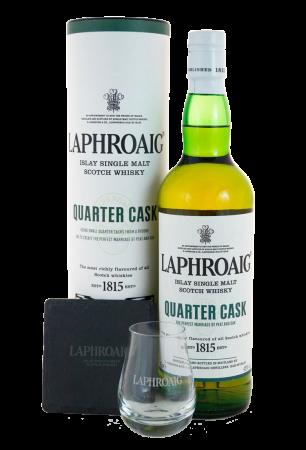 Laphroaig Quarter Cask – Geschenkbox mit Nosingglas und Schieferuntersetzer